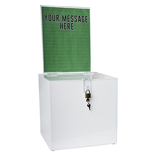 Clear-Ad - SBB-1010-H-WHT - Acrylic Donation Box with Lock and Sign Holder - Plastic Countertop Container for Voting, Charity, Ballot, Survey, Raffle, Contest, Suggestion, Tips, Comments (10x10 White)