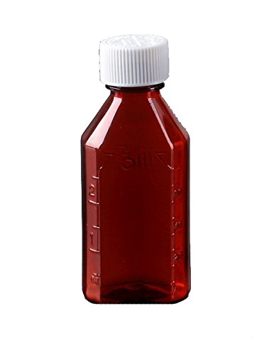 Oval Pharmacy Bottle for Liquid Medicine - Amber Medicine Bottle - Child Resistant Cap - 2 oz - Pack of 100 - Prescription Pharmacy Bottle, Pharmacy Container, Prescription Plastic Container by Sponix by BioRx Laboratories