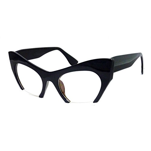 RETRO Hign Bottom Cut Women Cat Frame Clear Lens Eye Glasses BLACK