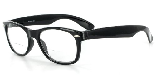 Hepcat Fashion Bifocal Readers with Vintage Retro Design and a RX-able frame - 50mm x 18mm x 142mm (Black +2.50)
