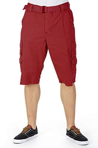Men's Cotton Breathable Tactical Cargo Shorts Belted 12.5