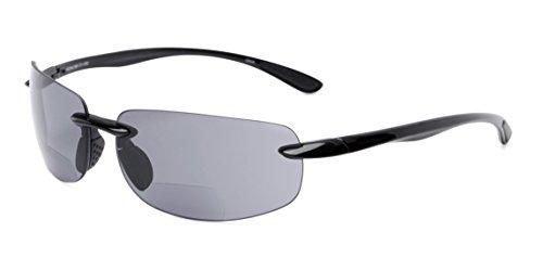 Readers.com | The Riverside Bifocal Reading Sunglasses +2.50 Black Frame with Smoke Lenses Reading ()