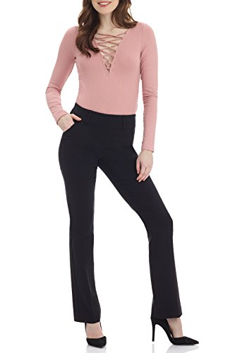 Classic Fit Boot Cut Pant - Rekucci Women's Ease in to Comfort Fit Classic Bootcut Pant w/Tummy Control (16,Black)