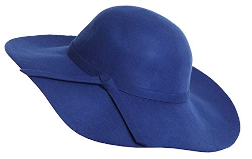 - Bienvenu Women's Wide Brim Wool Ribbon Band Floppy Hat Royal Blue