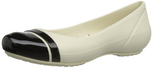 Crocs Women's Cap Toe Flat Stucco/Black