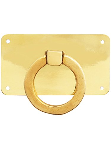 Mission Hardware Style Cabinet (Mission-Style Horizontal Drawer Ring Pull in Unlacquered Brass)