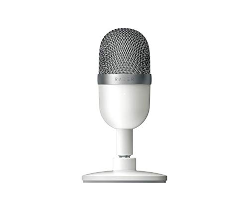 Razer Seiren Mini - USB Condenser Microphone for Streaming (Compact with Supercardioid Polar Pattern, Tiltable Stand, Integrated Shock Sbsorber) Mercury / White