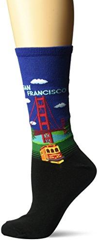 Hot Sox Women's Originals Classics Novelty Crew Socks, Golden Gate Bridge (Dark Blue), Shoe Size: 4-10 ()