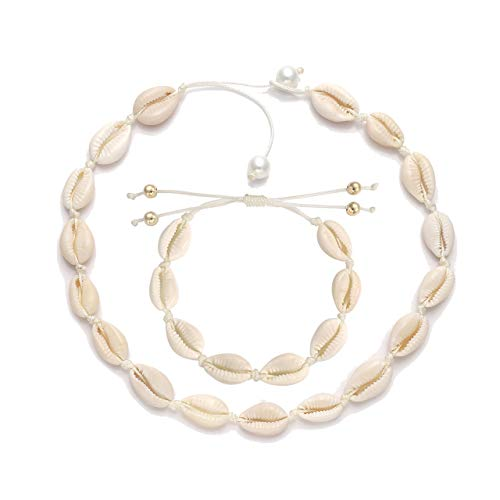HSWE Cowrie Shell Choker Necklace Bracelet Set for Women Seashell Chokers Necklace Adjustable Beaded Cord Necklace Handmade Hawaiian Summer Vacation Jewelry (Shell Bracelet& Necklace Set)