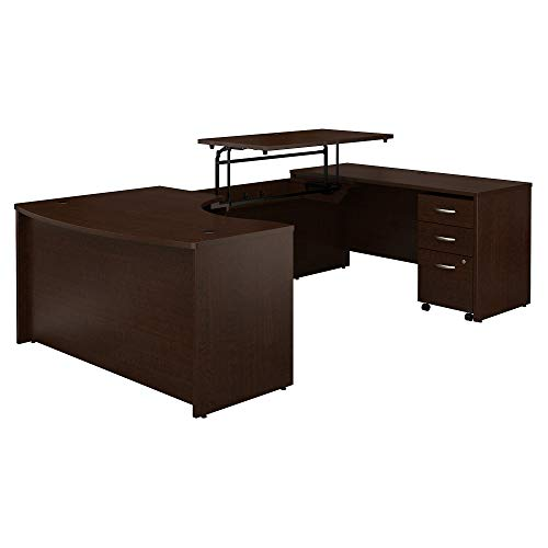(Bush Business Furniture Series C 60W x 43D Right Hand 3 Position Sit to Stand U Shaped Desk with Mobile File Cabinet in Mocha Cherry)