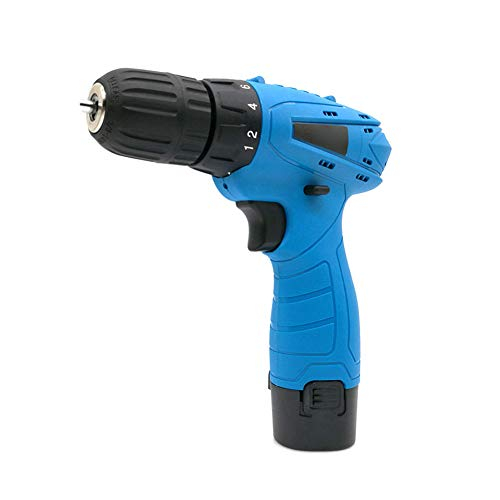 JHHXW Hand Drill Rechargeable 12V Single Speed Forward Rotation Reverse 18 Files Multifunction Household Lithium Drill Gun Miniature Electric Screwdriver Micro Electric Screwdriver,Blue,UK