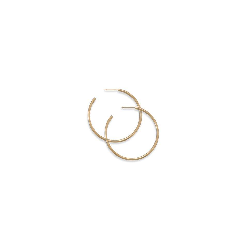 65236 14/20 Gold Filled 1.5mm X 36mm 3/4 Hoops Earrings Earings Ear Silver 0.925 Metal Girl Lady Woman Stone Rhinestone Face Head Lock Pin