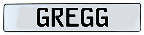 Greggs Customs License Plate - Vintage Parts 639288 Wall Art (Gregg White Stamped Aluminum Street Sign Mancave)