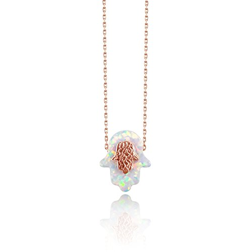 Roses Hamsa Necklace - White Hamsa Hand Of Fatima Necklace for Women + Girls with Rose Gold Highlights | Alef Bet Jewelry