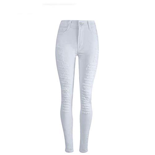 Stretch Xl Blanco Alta Blanco Cintura Rxf Pantalones color Mujer Pies Vaqueros Blancos Slim Tamaño YOxI7Ax
