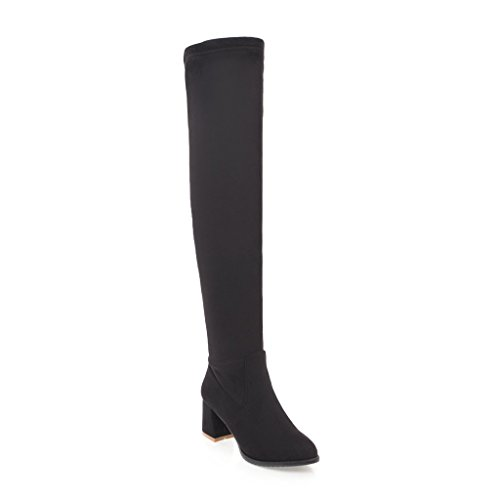Toe Womens Pointed Heel Solid Boots Black Urethane Loafer Kitten BalaMasa Penny ABL09639 HI7xndwI