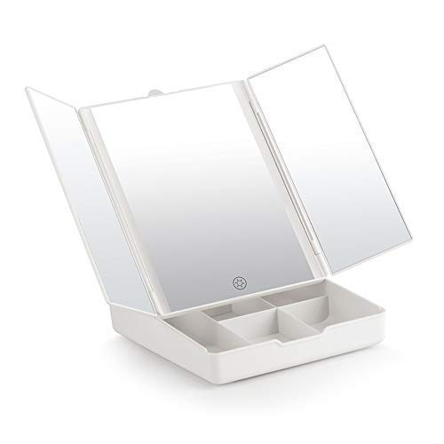 Fascinate Tri-Fold Lighted Makeup Mirror with 1X/7X Magnification, 21 LED Lights Touch Screen Dimming, Batteries or USB Charging, 180 Degree Rotation Storage Box Vanity ()