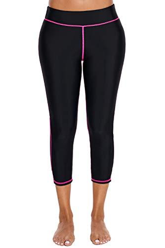 Womens Board Shorts Swimsuit Bottom High Waisted Tankini Long Sport Skinny Capris Swim Shorts (Black Pink, Medium (US - Skinny Shorts Capri