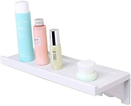 Floating Shelf, Wall Mounted Display Ledge, Wall Storage Rack with Adhesive Pad for Room Kitchen Office Bathroom Bedroom White 1-Pack
