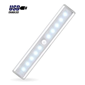 JEBSENS - T05 LED Under Cabinet Lighting, Rechargeable Battery Operated Closet Light with Motion Sensor, Stick on anywhere, Wireless On/Off/Auto Switch, Cool White