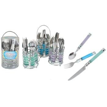 20 Piece Cutlery Set With Round Chrome Caddy Case Pack 12 Home Kitchen Furniture Decor