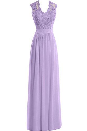 Lavendel Aemellos Neu Ausschnitt Elegant Damen Partykleid Spitze Missdressy Chiffon Abendkleid Applikation U Lang fz7nFw6q
