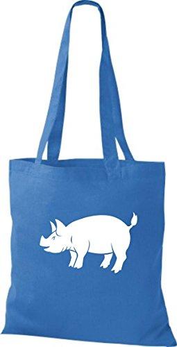 De Bolso Mujer Algodón Para Shirtstown Tela Azulón Azul RZH1w1q