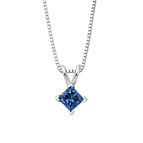 Blue - I1 Princess Cut Diamond Solitaire Pendant Necklace in 14K White Gold (1/5 -