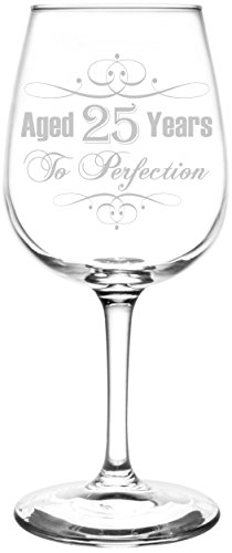 (25th) Aged To Perfection Elegant & Vintage Birthday Celebration Inspired - Laser Engraved 12.75oz Libbey All-Purpose Wine Taster Glass