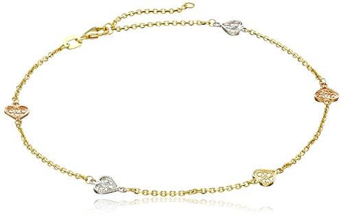 (14k Gold Tri-Color Filigree Heart Station Anklet, 10
