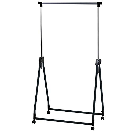 Tatkraft Halland Collapsible Adjustable Clothes Rack Hanger on Wheels | Foldable Garment Rack | Chromed Steel | 89X49X99-167cm