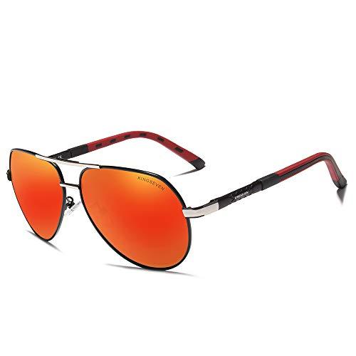 - KINGSEVEN 2019 Brand Men's Polarized Sun Glasses Ultra Light Fashion (Silver Red)