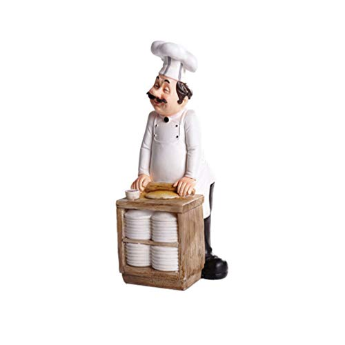 SMANTA Making Bread Decorative French Chef Figurine - Resin Home Countertop Table Decoration for Country Cottage Decor & Gourmet Kitchen Decorations (French Figurines Chefs)