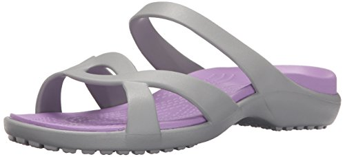crocs Women's Meleen Twist Wedge Sandal, Silver/Iris, 5 M US