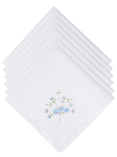 Butterfly Handkerchief - Selected Hanky Ladies/Women's Cotton Handkerchief Flower Embroidered with Lace 6 Pack - Blue Floral