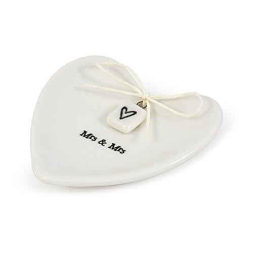 East of India Mrs & Mrs White Porcelain Heart Ring Dish Gift - Wedding Gift (Porcelain Wedding Rings)