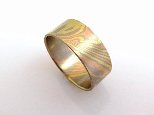 Mokume Wedding Ring - Unique handmade Mokume Gane wedding ring wide band 18k solid gold Tricolor gold ring