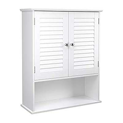 VASAGLE Wall Cabinet, Hanging Bathroom Storage Organizer, Medicine Cupboard with Adjustable Shelf, Double Shutter Doors and Open Shelf, 23.6 x 7.8 x 27.5 Inches, Wooden, White UBBC27WT