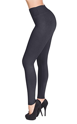 SATINA High Waisted Leggings - 22 Colors - Super Soft Full Length Opaque Slim (One Size, Charcoal)