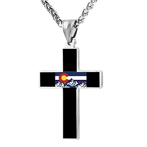 Fgfio Colorado Flag Fashion Custom Cross Necklace Cross Prayer Christ Necklace Pendant 24 Inch Crucifix Pray Ornaments Unisex