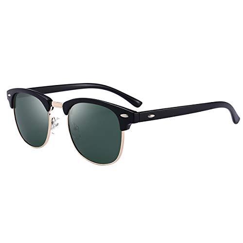 BEEAN Polarized Sunglasses Trendy Stylish Cat Eye Sun Glasses for Women Men, Frosted Black, Green ()