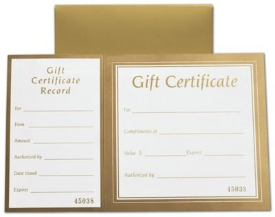 Gift Cards - Metallic Gold Square Gift Certificates w/ Folder, 8 x 5'' (100 Gift Certificates) - BOWS-503-GOLD