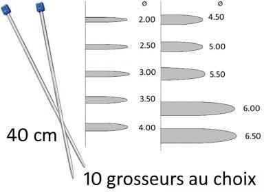 Aiguilles /À Tricoter /À Boule Aluminium 30 Cm Grosseur 5 Couture Loisirs