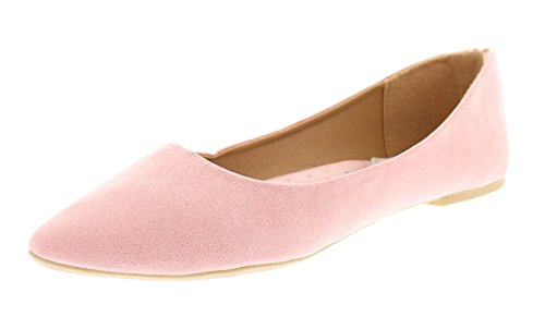 Gold Toe Women's Allisa Faux Suede Pointed Toe Ballet Flats with Back Zip Slip On Shoes with Arch Support Blush 9 (Light Pink Leather Footwear)