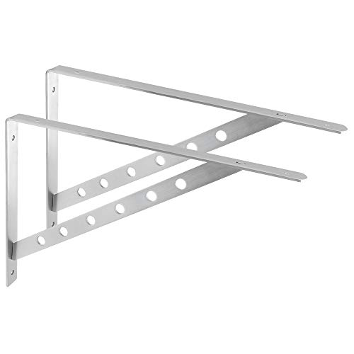 (Alise 1 Pair Stainless Steel Brackets Floating Shelves Tripod Triangle Heavy Duty Shelf Bracket Support Wall Hanging 450X300mm,Brushed Nickel)