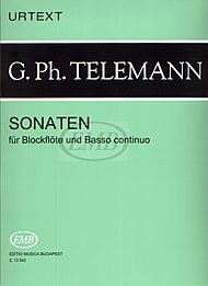 Editio Musica Budapest Sonatas for Recorder and Basso Continuo EMB Series by Georg Philipp Telemann