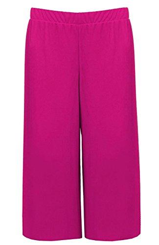 Islander Fashions Femmes 3/4 Longueur Stretch Imprim Culottes Dames Pantalon Elastiqu EU 36-58 Fuchsia