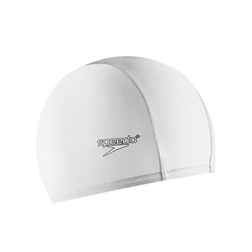Speedo Solid Lycra Long Hair Swim Cap(White,One Size)