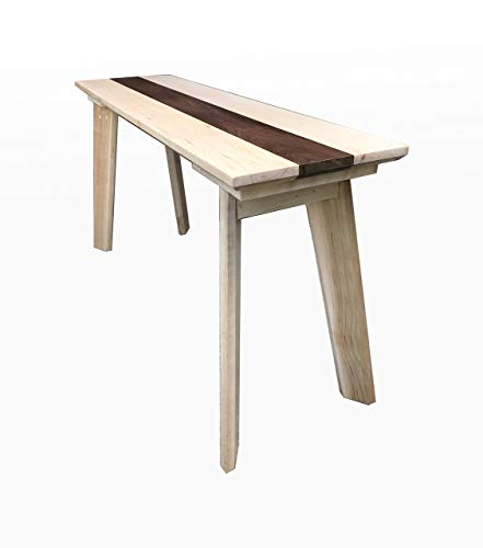 Wood Bench, Maple and Walnut by CW Furniture, Wooden, Entryway Furniture, Dining Table Bench Chair, Handmade, Hallway, Rustic, Modern ()