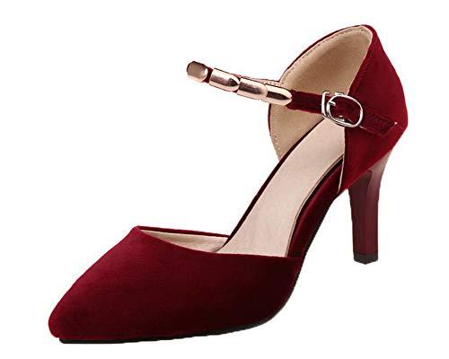 GMBLB015248 Femme Rouge Couleur Unie Sandales AgooLar Boucle Talon Dépolissement à Haut Fa7wqgC